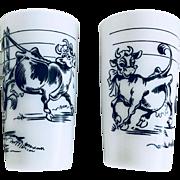 Hazel Atlas Elsie the Cow and Friends Glass Set