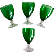 Anchor Hocking Green Bubble Foot Water Goblet Set
