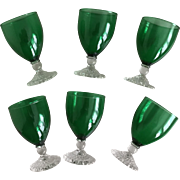 Anchor Hocking Green  Bubble Foot Juice/Wine Glass Set
