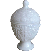 Avon Milk Glass Candy Dish with Lid