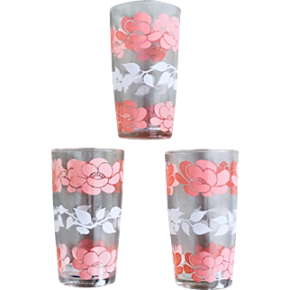 Hazel Atlas Pink Rose Glass Set