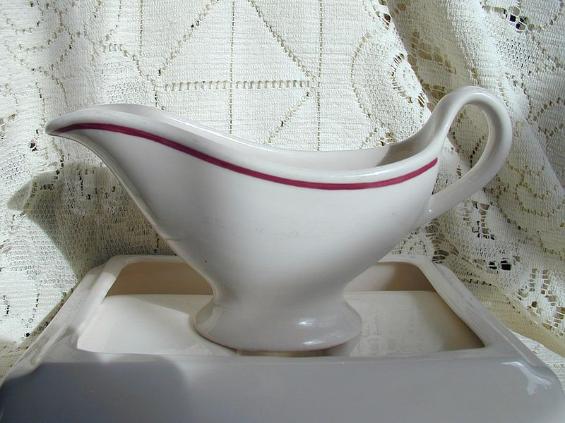 Sterling China Maroon Band Sauce Boat