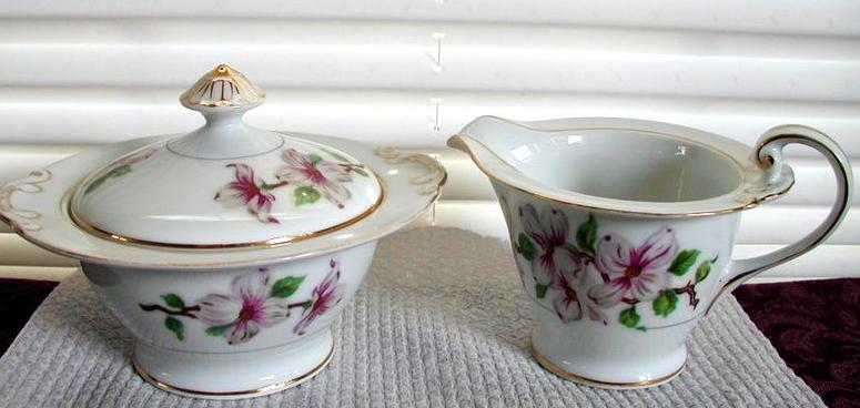 Hira Fine China Dogwood Sugar & Creamer