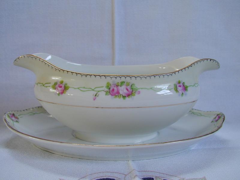 Japan Porcelain Pink Roses Gravy Boat