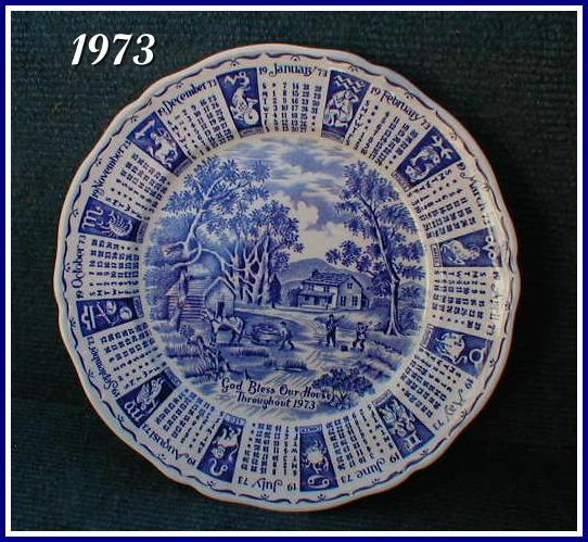 Alfred Meakin Staffordshire 1973 Calendar Plate