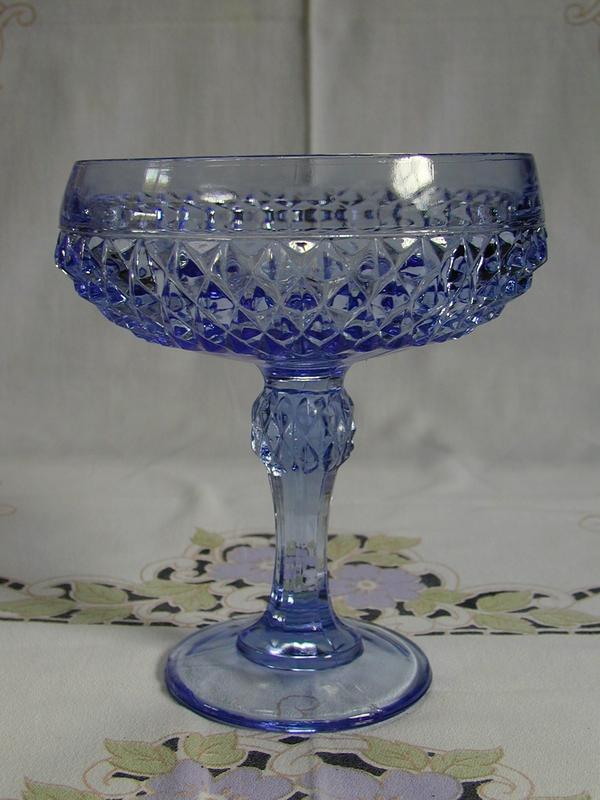 Indiana Glass Diamond Point Blue Compote