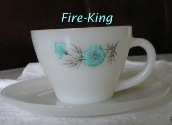 Fire King Premium Cup & Saucer Set ~ Blue Carnation
