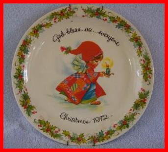 Gigi Christmas God Bless Us 1972 Commemorative Plate