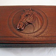 Syroco Wood faux leather dresser box -  majestic horse
