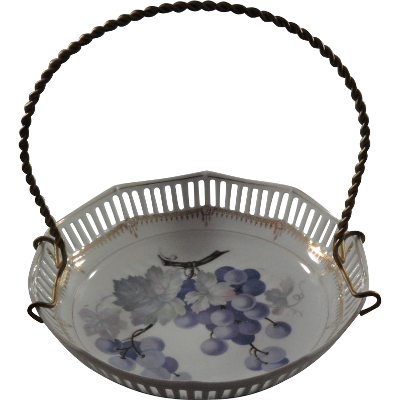 Handpainted Porcelain Basket - Bavarian