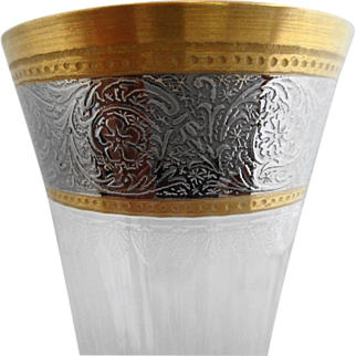 Saint Louis Crystal  France ~ Gold/Platinum Thistle Pattern ~ Champagne Flute