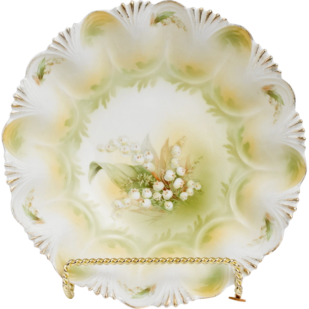 R. S. Prussia Bowl ~ Lily of the Valley Decoration ~ Matte Glaze - Fluted Edge with Shell Design
