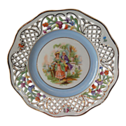 """Schumann Reticulated Floral Border 7-1/2"""" Plate Courting Couple"""