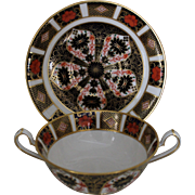 """Royal Crown Derby """"Old Imari"""" Cream Soup and Saucer - Pattern 1128"""