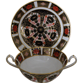 "Royal Crown Derby ""Old Imari"" Cream Soup and Saucer - Pattern 1128"