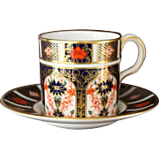 "Royal Crown Derby ""Old Imari"" Demitasse Cup and Saucer - Pattern 1128"