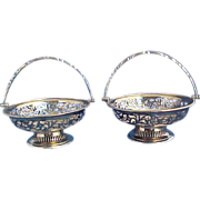 Rare Pair English Gold Washed Vermeil Sterling silver Fancy Baskets London 1912