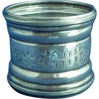 Large Aesthetic Engraved Sterling Silver Napkin Ring by Frank Whiting