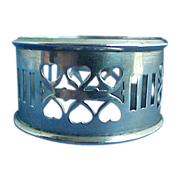 Sterling Silver Napkin Ring with Heart Shaped Piercings So Sweet!