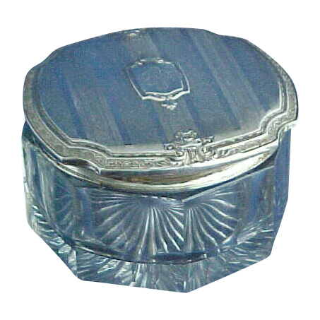 Extra Large Sterling Silver Topped Dresser Jar Powder Box with Flower Baskets