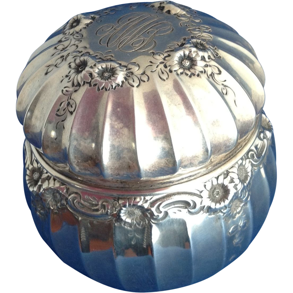 All Sterling Silver Daisy Chain Dresser Jar Powder Box by George Shiebler