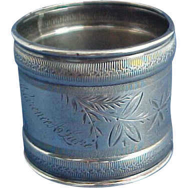 Large Aesthetic Sterling Silver Napkin ring Engraved God Bless You
