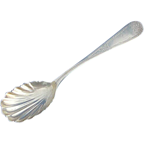 Coin Silver Shell Bowl Serving spoon with Engraved Roses