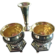 Sterling Silver 3 Part Condiment Server Caddy
