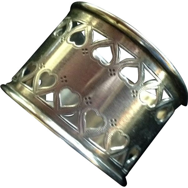 Sterling Silver Napkin Ring with Heart Shaped Piercings