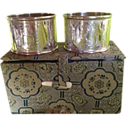 Pair Fancy Sterling silver Napkin Rings in Cool Box