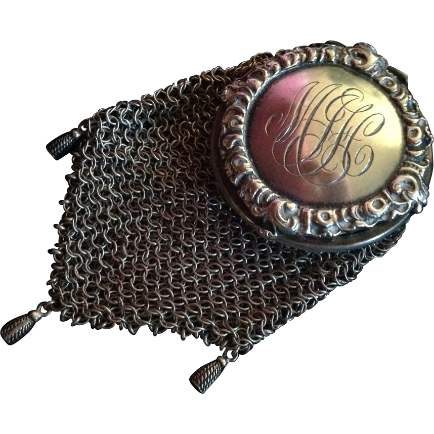 Sterling silver Chain Mesh Coin Purse with Tassels