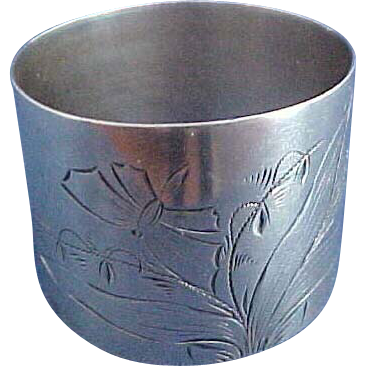 Sterling silver Napkin Ring with Butterfly and Lily of the Valley