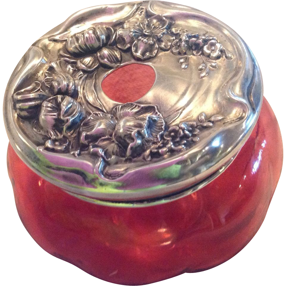 Sterling silver Art Nouveau Cranberry Glass Hair Receiver