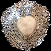 English Sterling silver Heart Dish Hallmarked Birmingham 1897-8