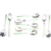 9 Sterling silver with Green Guilloche Enamel Ice Cream Forks