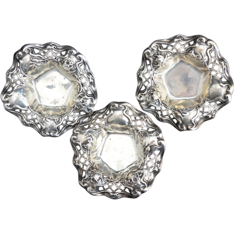 3 Wallace Art Nouveau rose Sterling Silver Bowls