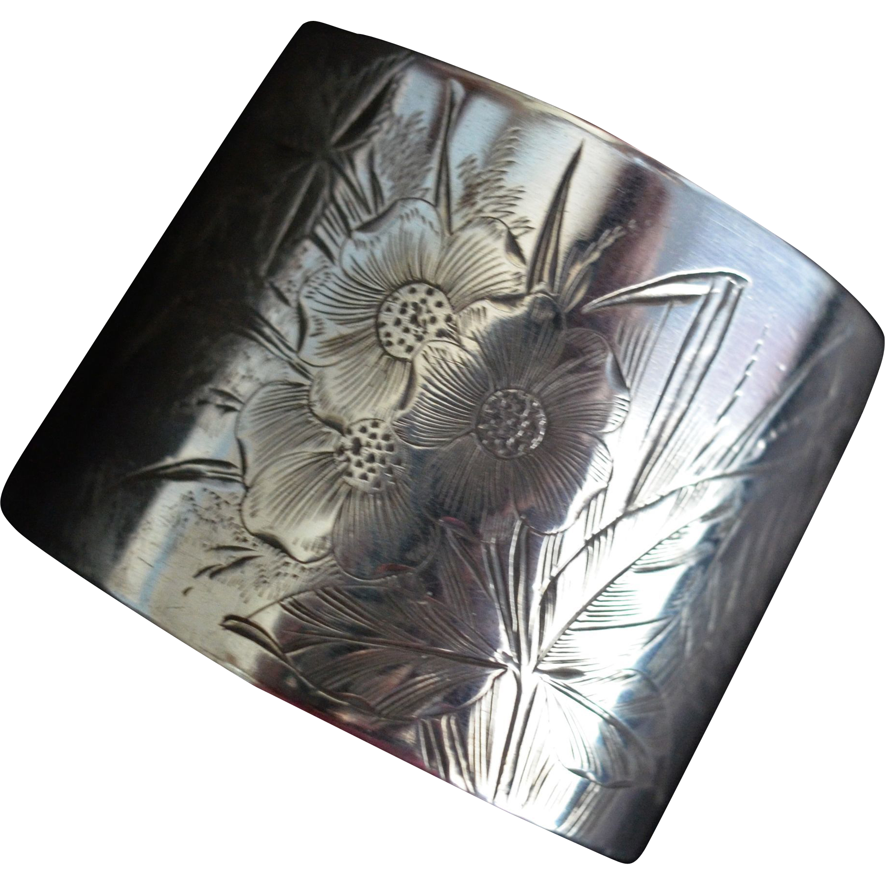 Sterling silver Napkin Ring with Engraved Flowers and Lily of the Valley