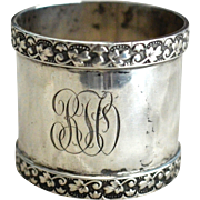 Sterling silver Napkin Ring with Oak Leaf Border