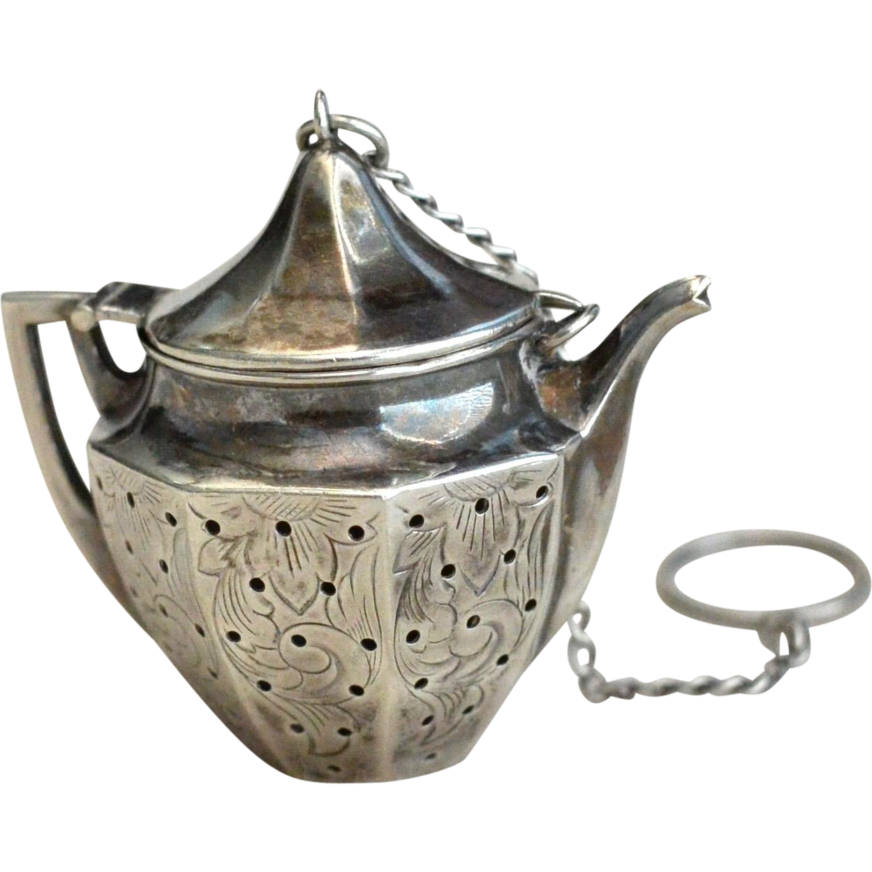 Teapot Shaped Sterling Silver Tea Ball Infuser From Annwilhelmantiques On Ruby Lane