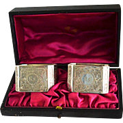 Boxed Pair Elaborate English Rectangular Sterling silver Napkin Rings Dated 1896