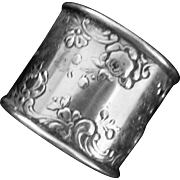 Large Sterling silver Napkin Ring by Gorham with Roses
