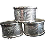 3 English Diamond Pattern Sterling silver Napkin Rings with Funky Crest 1878-9
