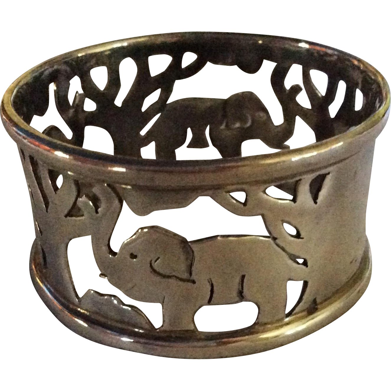 Sterling silver Napkin Ring Serviette Holder with Elephants
