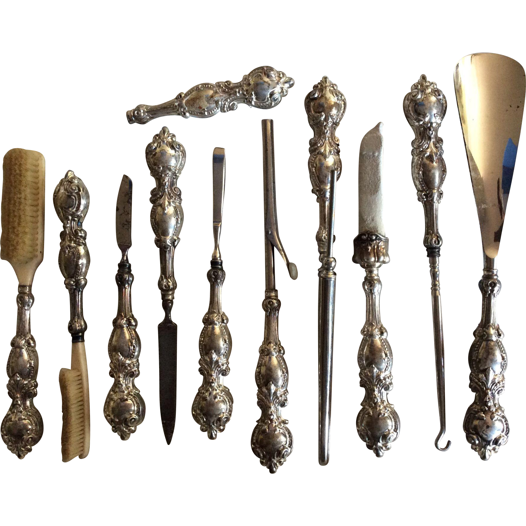 10 Ornate Sterling silver Handled Tools by Woodside for Your Boudoir