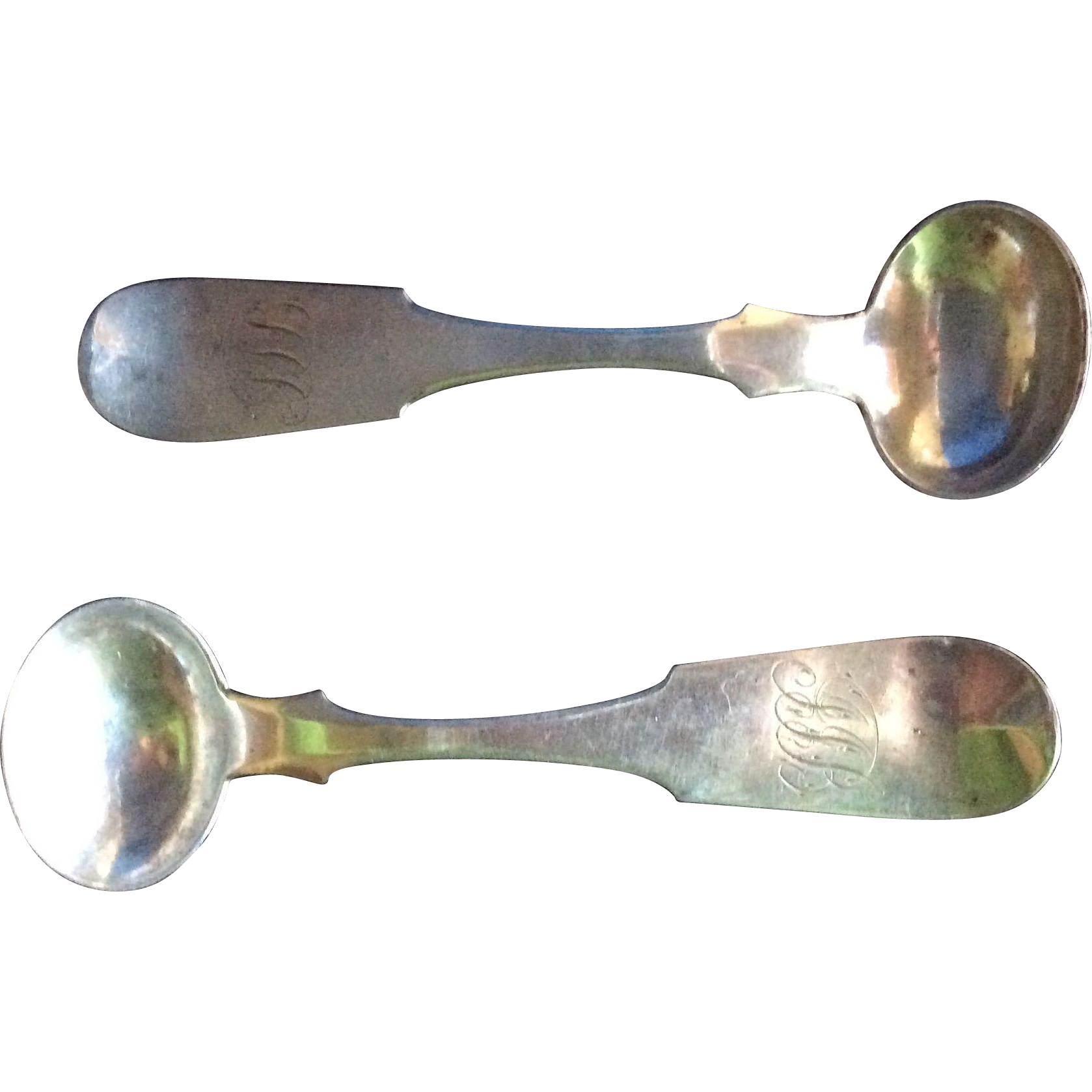 2 Coin silver Mustard or Master Salt Spoons by Henry J Pepper