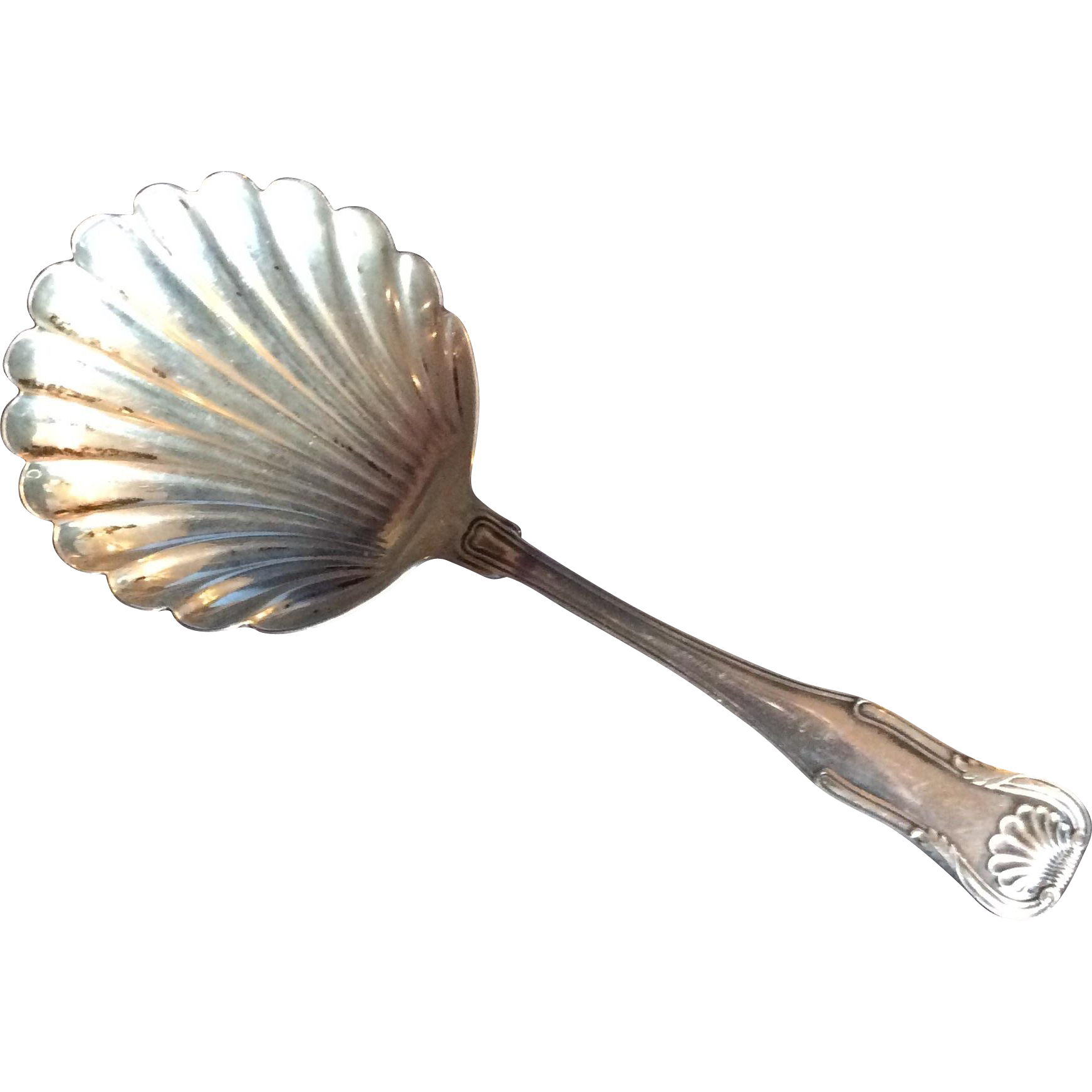 King by Kirk Sterling silver Bon Bon or Nut Spoon with Shell Shaped Bowl