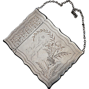 Aesthetic Engraved Sterling silver Card Case on Chain
