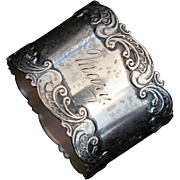 Ornate Sterling silver Napkin ring Engraved Mary