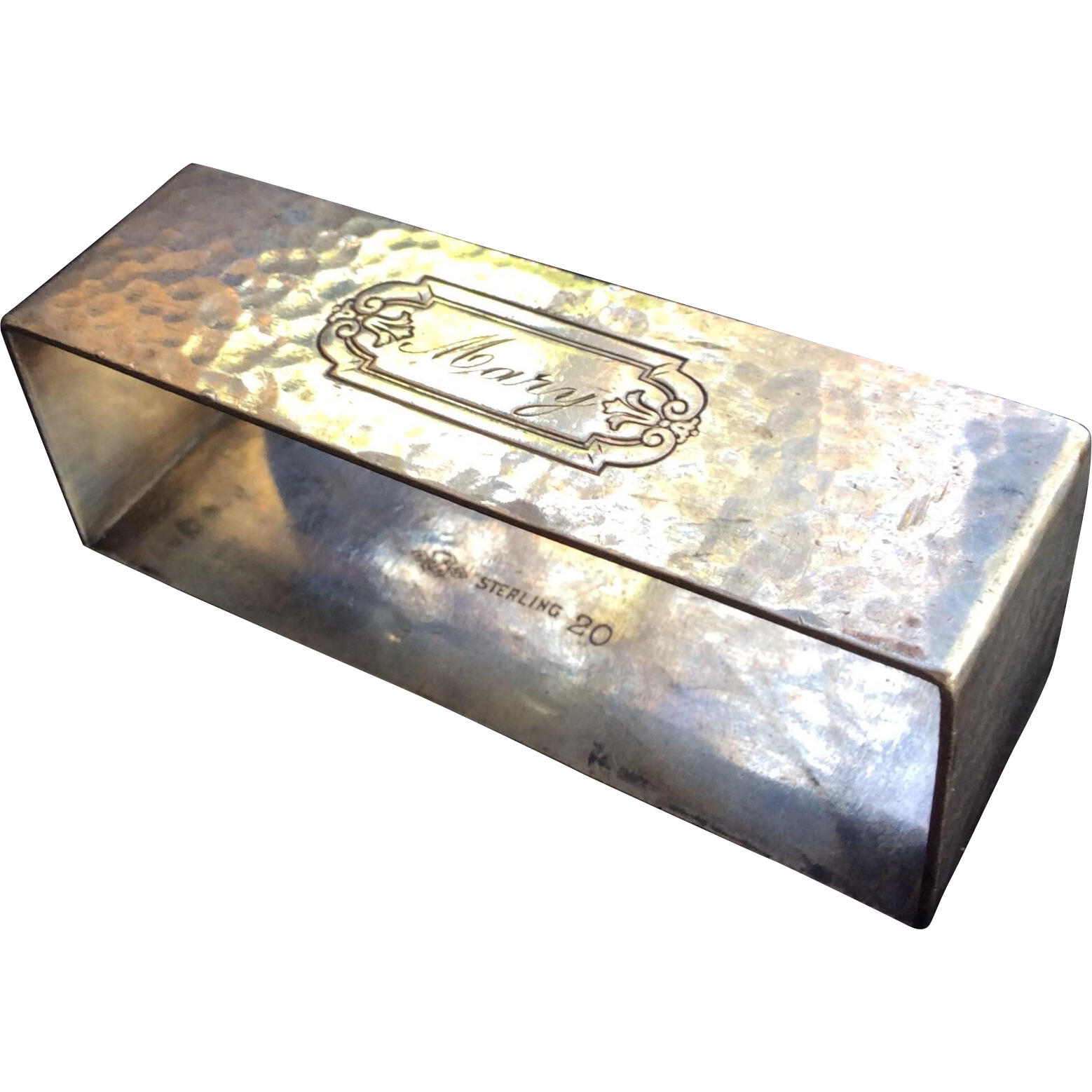 hammered sterling silver napkin ring engraved from