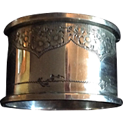 English Edwardian Sterling silver Napkin Ring with Poppies engraved Norah